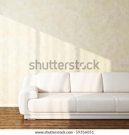 sunbeams on bright interior wall - stock photo
