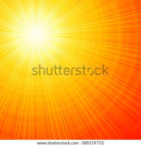Sunbeams orange abstract. Summer sunrays. Sunburst abstract summer background - stock photo