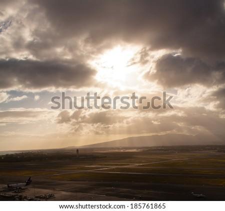 Sunbeams over Oahu, Hawaii - stock photo