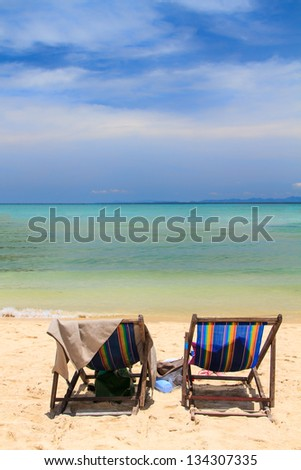 Sunbed at beautiful bay of Koh Phi Phi island at day time, Thailand