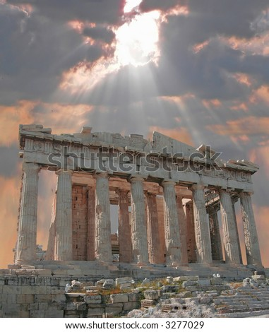 Sunburst over the Acropolis Temple - stock photo