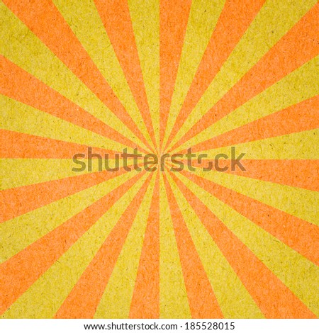 Sunburst Pattern. Radial background made of yellow and orange recycled paper - stock photo