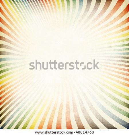 Sunburst retro image old paper textured. - stock photo