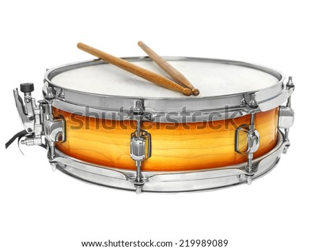 Sunburst snare drum with drumsticks - stock photo