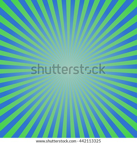 Sunburst, starburst background set, colorful rays, beams. Fresh spring design in blue, green and white for card, websites, brochures and booklets