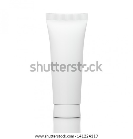 Suncream tube isolated on white background and reflective ground
