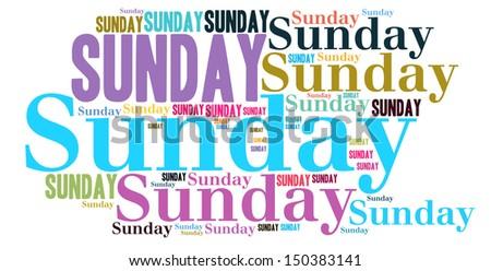 Sunday colour text cloud style - stock photo