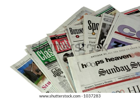 Sunday Morning Newspaper  (with clipping path) - stock photo