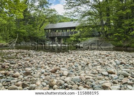 Sunday RIver Covered Bridge in Maine - stock photo