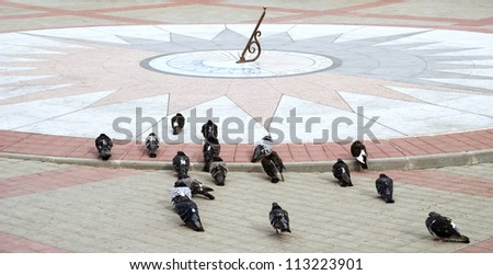 sundial  and pigeons - stock photo