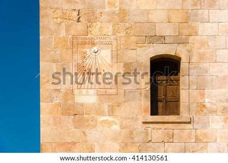 sundial at montjuic castle, barcelona, spain - stock photo