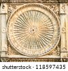 Sundial on the wall of the gothic cathedral in Chartres, France (12th century) - stock photo