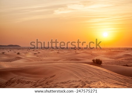 Sundown in desert. - stock photo