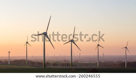 sundown on a wind farm