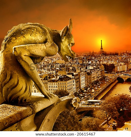 sundown on Paris - view from old Notre dame -artistic toned picture - stock photo
