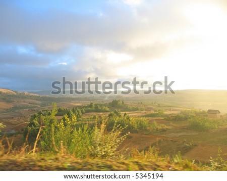 Sundown on Zafimaniry countryside near Antoetra village - Ambositra - Madagascar. - stock photo