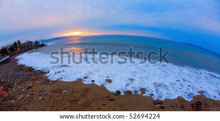 Sundown over Banderas Bay - stock photo