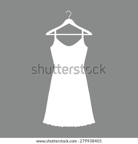 Sundress, Evening dress, combination or nightie on the wardrobe hanger , the silhouette. Menu item in the web design - stock photo