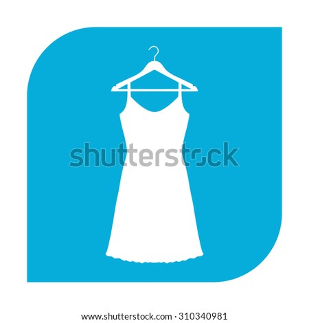 Sundress, Evening dress, combination or nightie on the wardrobe hanger, the silhouette. Menu item in the web design. Set of colored icons. - stock photo