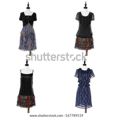 sundress in female clothes on four dummy  - stock photo