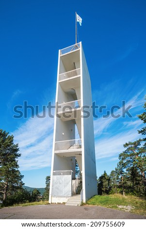 SUNDSVALL - AUG 1: Watchtower at the northern hill overlooking Sundsvall. August 1, 2014 in Sundsvall, Sweden. Built 1954 and The tower is 22 meters high