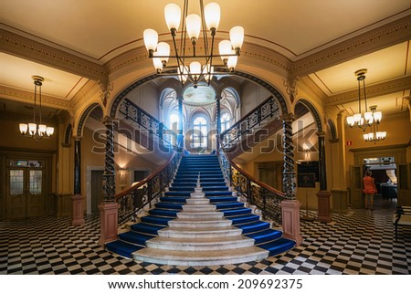 SUNDSVALL - JULY 31: Entrance to Hotel Knaust with its famous elegant marble stairs. July 31, 2014 in Sundsvall, Sweden. Built in 1891 and opened as hotel 1978. - stock photo