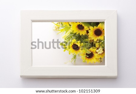 sunflower bouquet in white frame - stock photo