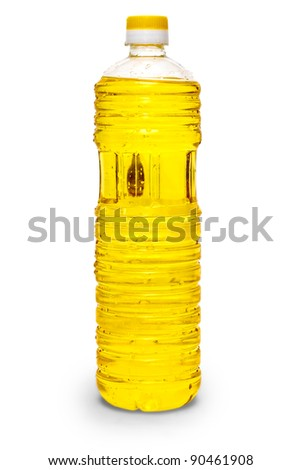 sunflower coocking oil vegetable in a plastic bottle isolated on white background - stock photo