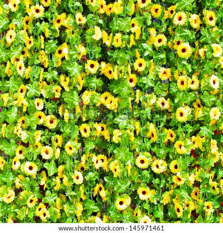 Sunflower curtains made �¢??�¢??from plastic. Sold in the country. - stock photo
