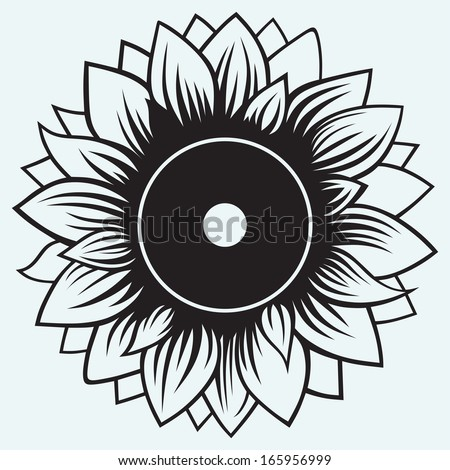 Sunflower isolated on blue background. Raster version - stock photo