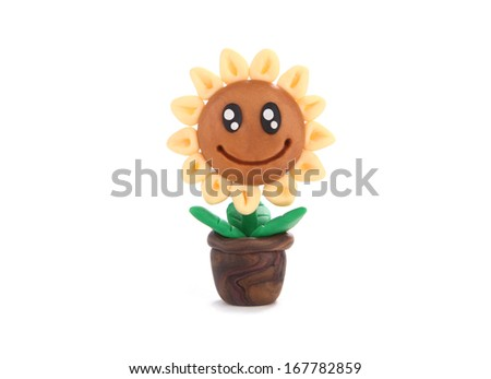 Sunflower pot made from child's play plasticine