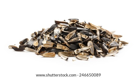 Sunflower seed husks on the white background  - stock photo