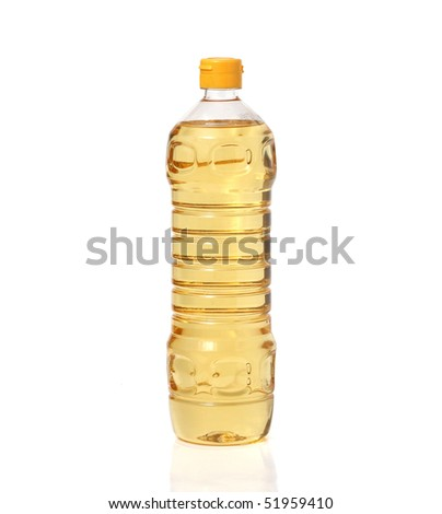 sunflower-seed oil bottle isolated on white background - stock photo