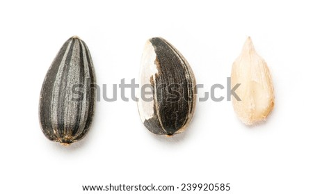 Sunflower seed with and without husk on white background - stock photo