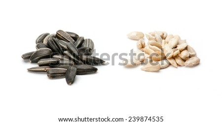 Sunflower seed with husk isolated on white background - stock photo