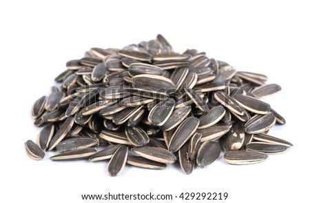 sunflower seeds on the white background