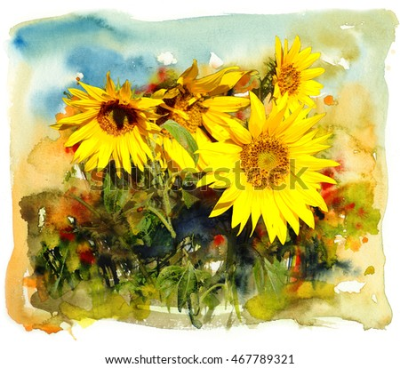 Sunflower, watercolor and mixed media illustration artistic background