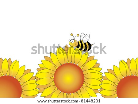 Sunflower with bees playing on it - stock photo