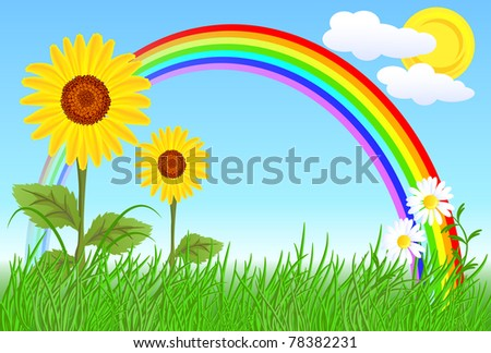 Sunflowers, camomiles, rainbow and blue sky. Raster version of vector.