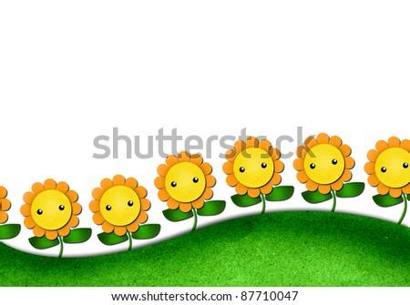 Sunflowers Cartoon In Cute