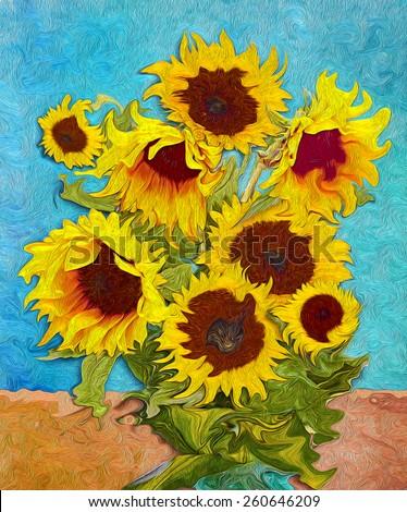 Sunflowers, digital art like imressjonism painting - stock photo