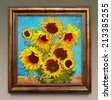Sunflowers, digital graphic like imresjonissm painting. - stock photo