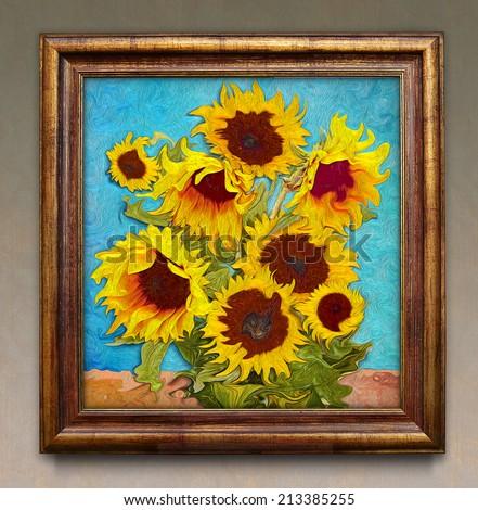 Sunflowers, digital graphic like imresjonissm painting. - stock photo