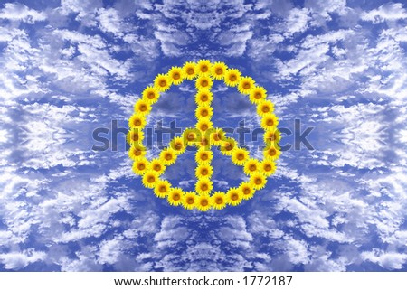 Sunflowers put together to form the peace symbol with sky background - stock photo