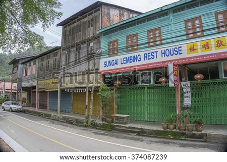 "SUNGAI LEMBING, PAHANG on DEC 18, 2015.Sungai Lembing is a tin mining town 42 km northwest of Kuantan in Pahang, Malaysia. Lembing is Malay for spear, and ""sungai"" means river."