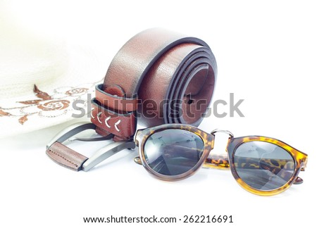 Sunglasses and Brown leather belt,fashion accessories for ma