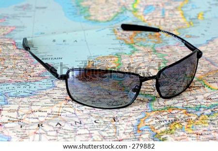 Sunglasses and map