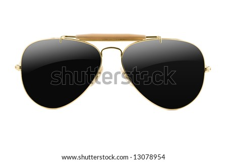 sunglasses aviator style isolated on white - stock photo