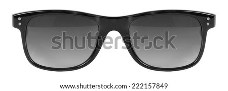 Sunglasses black frame and grey color lens isolated against a clean white background nobody - stock photo