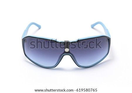 Sunglasses in dark blue frame with blue glass isolated on white